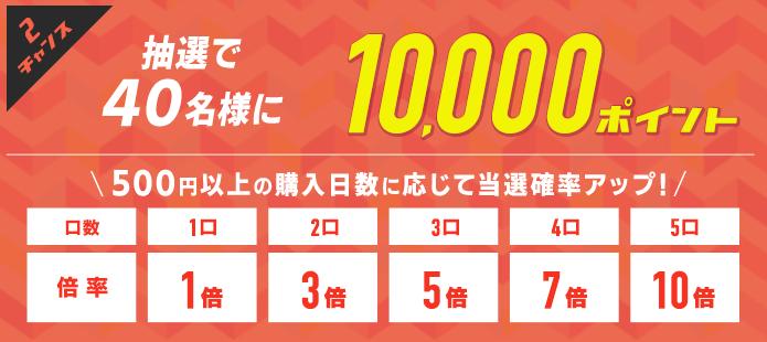 チャンス2、抽選で40名様に1万ポイント
