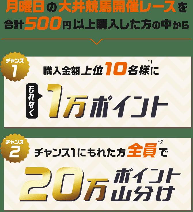 月曜日の大井競馬開催レースを合計500円以上購入した方の中からポイント山分け